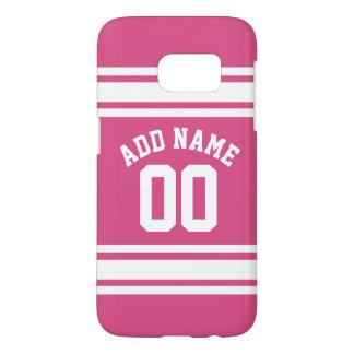 ピンクの白は名前および数を用いるジャージーを遊ばします SAMSUNG GALAXY S7 ケース