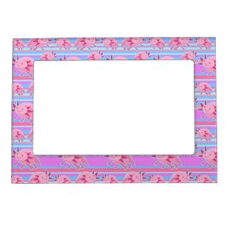 ピンクの白子のアホロートルパターン マグネットフレーム