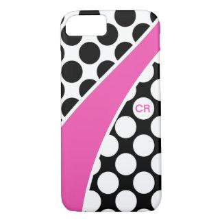 ピンクの白黒水玉模様の波のモノグラム iPhone 8/7ケース