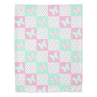 ピンクの真新しい緑の蝶水玉模様のキルトの女の子 掛け布団カバー