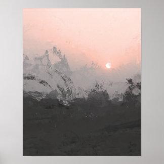 ピンクの砂漠の日没|の写真撮影のプリント ポスター