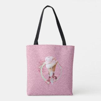 ピンクの砂糖のアイスクリームコーンのトート トートバッグ