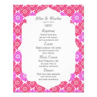 ピンクの神聖なはす結婚式メニュー続き 11.4CM X 14.2CM チラシ