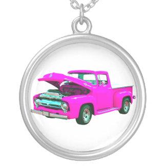 ピンクの積み込み シルバープレートネックレス