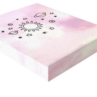 ピンクの空および惑星 キャンバスプリント