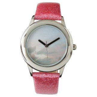 ピンクの空の腕時計 腕時計