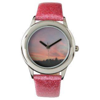 ピンクの空 腕時計