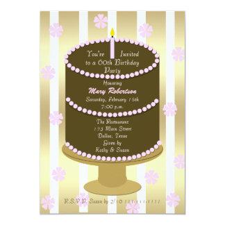 ピンクの第60誕生日のパーティの招待状第60を固めて下さい カード
