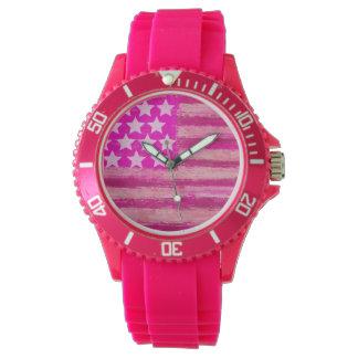 ピンクの米国旗 腕時計