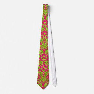 ピンクの粋でシックなネオンダマスク織の緑 タイ