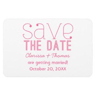 ピンクの粋なタイポグラフィの保存日付の磁石 マグネット