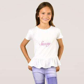 ピンクの粋なタイポグラフィ Tシャツ