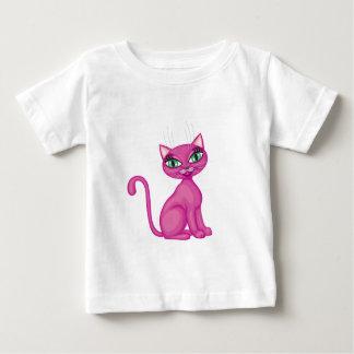 ピンクの粋な子猫 ベビーTシャツ