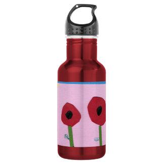ピンクの紙のコラージュの赤い花そして黄色い日曜日 ウォーターボトル
