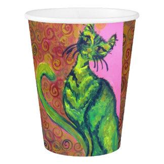 ピンクの紙コップの緑猫 紙コップ