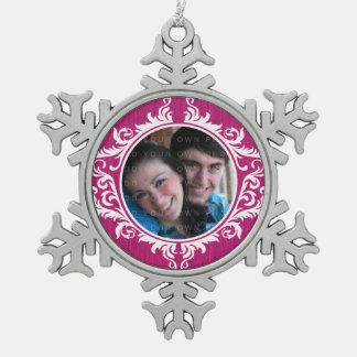 ピンクの素朴な渦巻の休日の写真のオーナメント スノーフレークピューターオーナメント