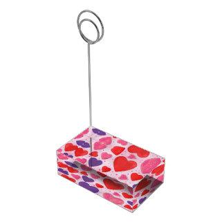 ピンクの紫色および赤いバレンタインデーのハート テーブルカードホルダー