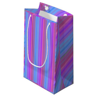 ピンクの紫色および青のストライプのなギフトバッグ スモールペーパーバッグ