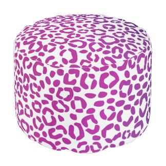 ピンクの紫色および青のヒョウのプリントパターン プーフ