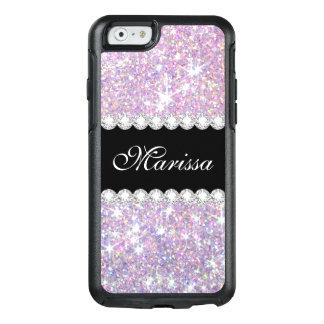 ピンクの紫色のグリッターの黒のオッターボックスのiPhone6ケース オッターボックスiPhone 6/6sケース