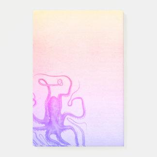 ピンクの紫色のタコのグラデーションなSteampunkの海 ポストイット