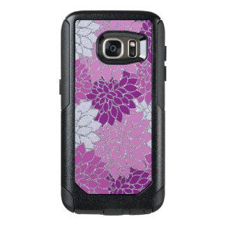ピンクの紫色のダリアの花、銀製のグリッター オッターボックスSamsung GALAXY S7ケース