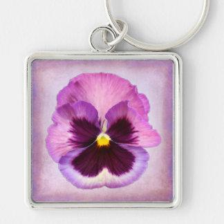 ピンクの紫色のパンジーの花 キーホルダー
