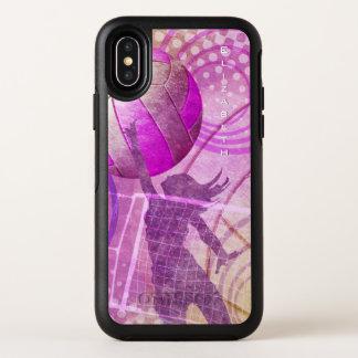 ピンクの紫色の名前をカスタムするの女性のバレーボール オッターボックスシンメトリー iPhone X ケース