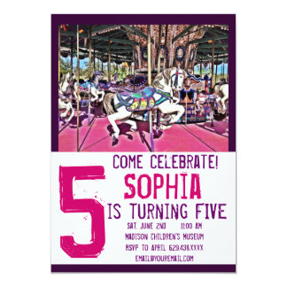 ピンクの紫色の回転木馬の馬の誕生日の招待状 カード
