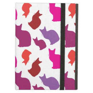 ピンクの紫色の子猫猫はパターンギフトのシルエットを描きます iPad AIRケース