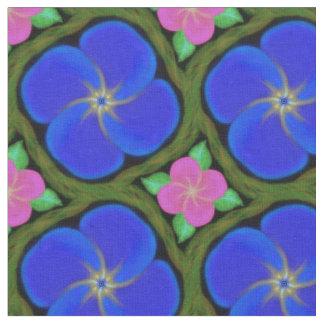 ピンクの紫色の彎曲部色の花およびつる植物の生地 ファブリック