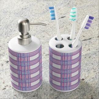 ピンクの紫色の格子縞の浴室セット バスセット