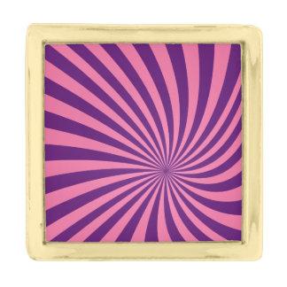 ピンクの紫色の渦 ゴールド ラペルピン