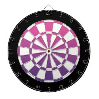 ピンクの紫色の白黒 ダーツボード