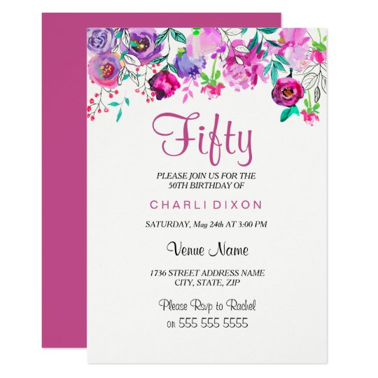 ピンクの紫色の真新しい水彩画の花の第50誕生日 12.7 X 17.8 インビテーションカード