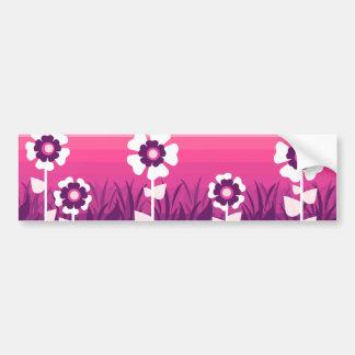 ピンクの紫色の花の日没 バンパーステッカー