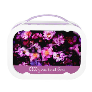 ピンクの紫色の野生のバラの抽象芸術の絵画的なモンタージュ ランチボックス