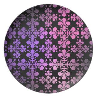 ピンクの紫色の黒|の(紋章の)フラ・ダ・リ プレート