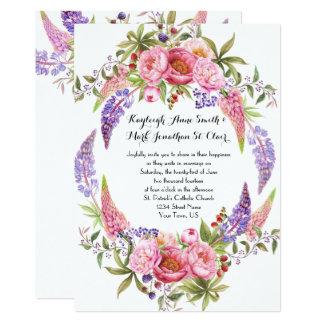 ピンクの紫色のLupinesのシャクヤクの水彩画の結婚式 カード