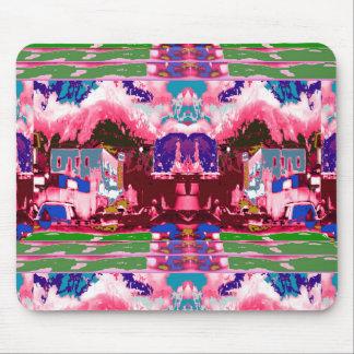 ピンクの紫色都市お祝いの装飾のお祝い マウスパッド
