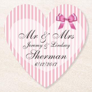 ピンクの結婚式の名前入りなカスタムの紙のコースター ペーパーコースター