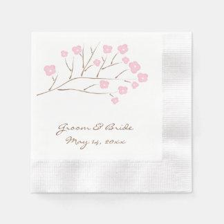 ピンクの結婚式の桜 縁ありカクテルナプキン