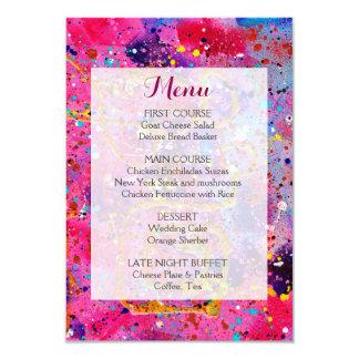 ピンクの結婚式メニュー カード