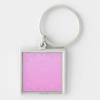 ピンクの絹の刻まれた一見: 文字かイメージを加えて下さい キーホルダー