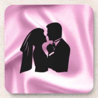 ピンクの絹の結婚式のシルエット コースター
