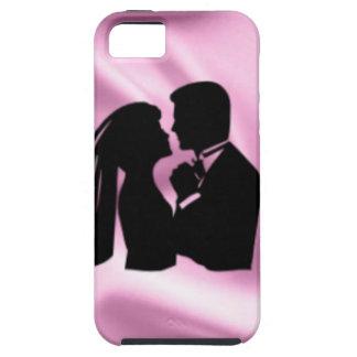 ピンクの絹の結婚式のシルエット iPhone SE/5/5s ケース