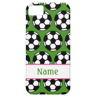 ピンクの緑の女の子のサッカーボールのiPhone 5の箱 iPhone SE/5/5s ケース