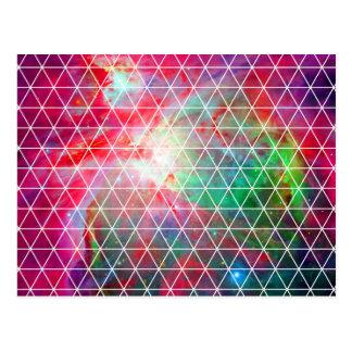 ピンクの緑の星雲の網パターン ポストカード
