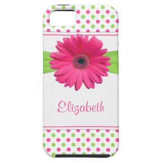 ピンクの緑の水玉模様のガーベラのデイジー iPhone SE/5/5s ケース