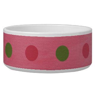 ピンクの緑の水玉模様犬のペットボウル 犬用ご飯皿